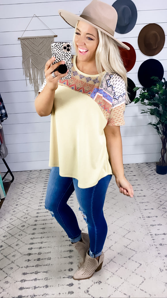 Feeling Confused- Mustard & Mix Pattern Top