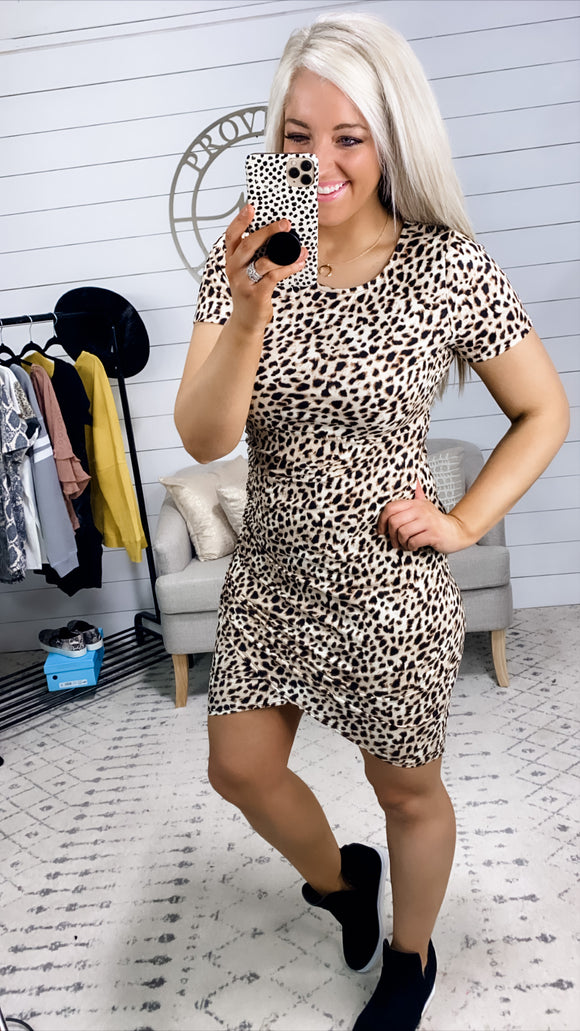 Spread The Word- Cheetah Print Wrapped Ruching Dress