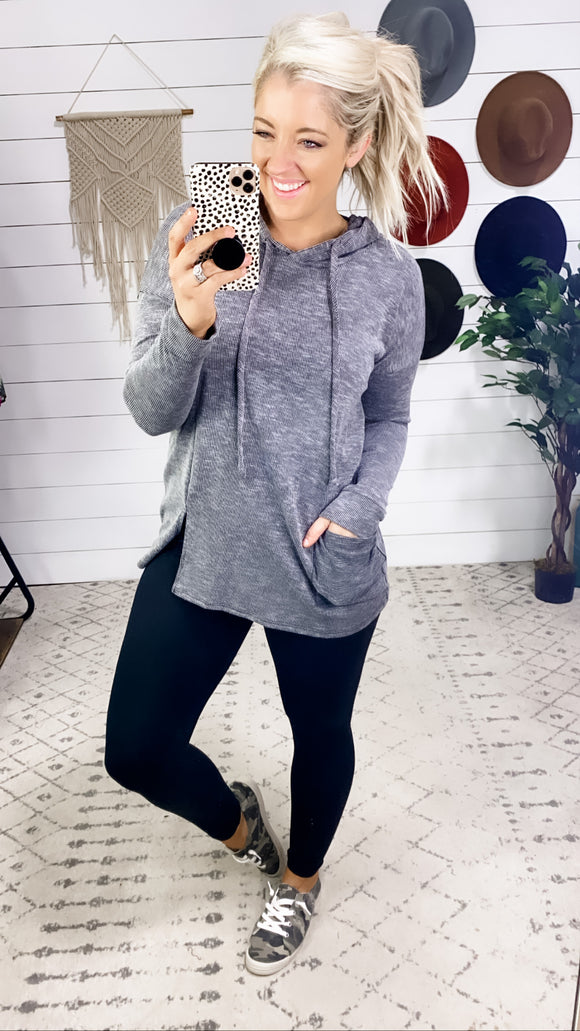 Morning Or Night- Charcoal Tunic Hoodie