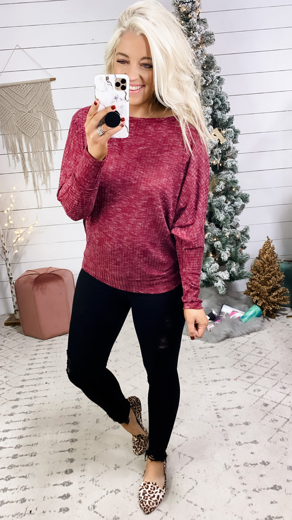 Hear Me Out- Heathered Wine Dolman Sleeve Top