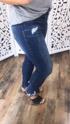 The Cassi's- Dark Distressed Ankle Jeans