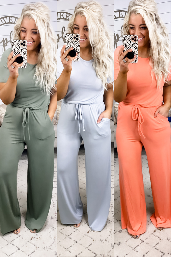 What I Heard- {Gray, Olive, Coral} Jumpsuit