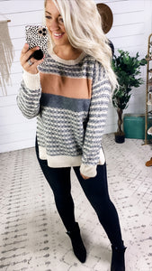 Nothing Is Promised- Cream/Gray/Dusty Mauve Sweater
