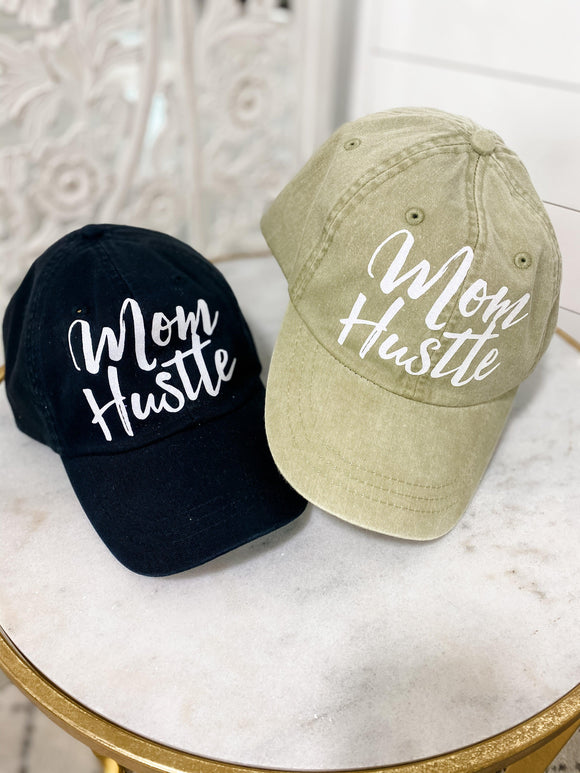 Mom Hustle Ball Cap {Black} & {Light Olive}