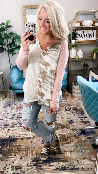 See You Then- Camo/Oatmeal/Blush V-Neck