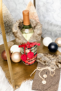 Winter Wine Cover w/ Fur- {Plaid & Tan}