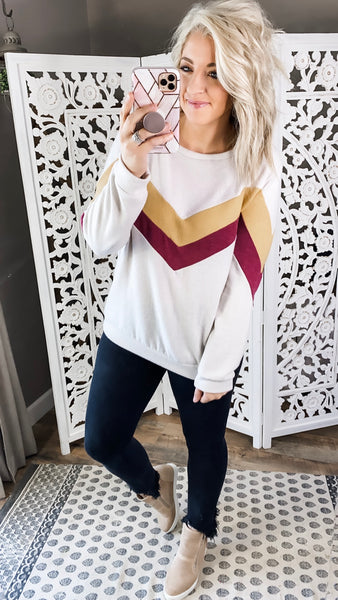 They Know It- Sand Sweater w/ Mustard & Burgundy