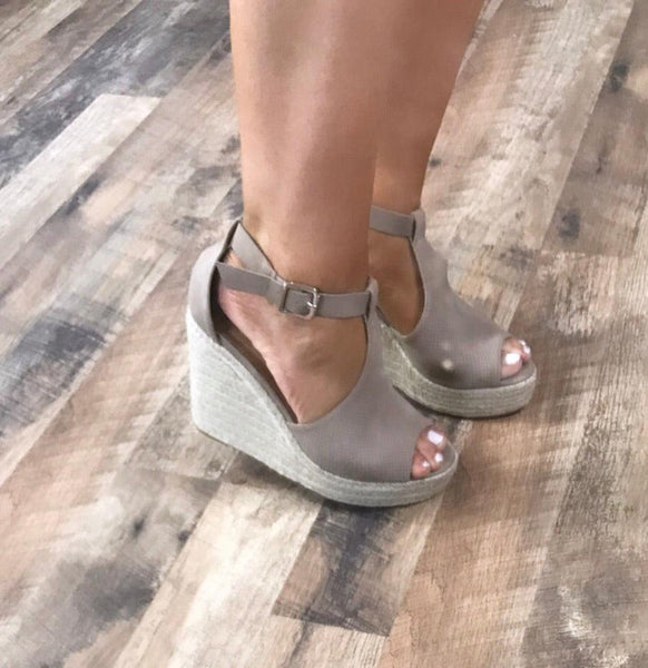 Head Over Heels- Taupe Wedges