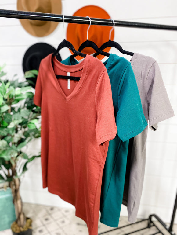 Here You Come- {Brick, Gray, Green} V-Neck Tee