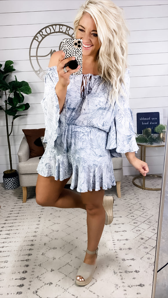 Living For Us- Gray Mix Flowy Romper