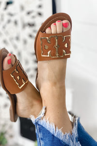 Give Me More- TAN & Gold Thick Strap Sandal