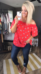 Back Home- Deep Coral w/ Floral Off Shoulder