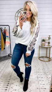 Gotta Be- Heather Gray Top w/ Snake Print Puff Sleeve