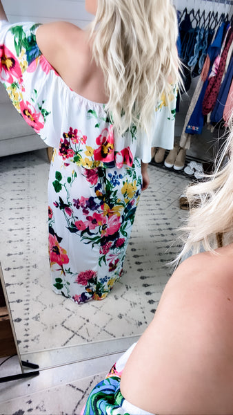 Sunny Days- White Floral Off Shoulder Dress