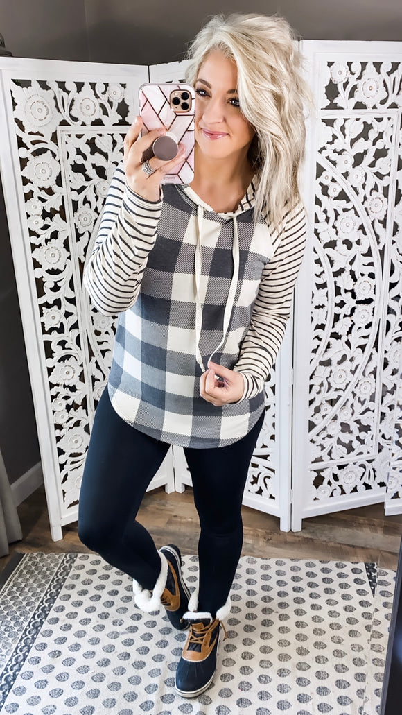 Impress Yourself- Gray & Ivory Plaid & Stripes Hoodie
