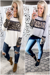 More Time For Me- Taupe or Gray/Leopard Color Block