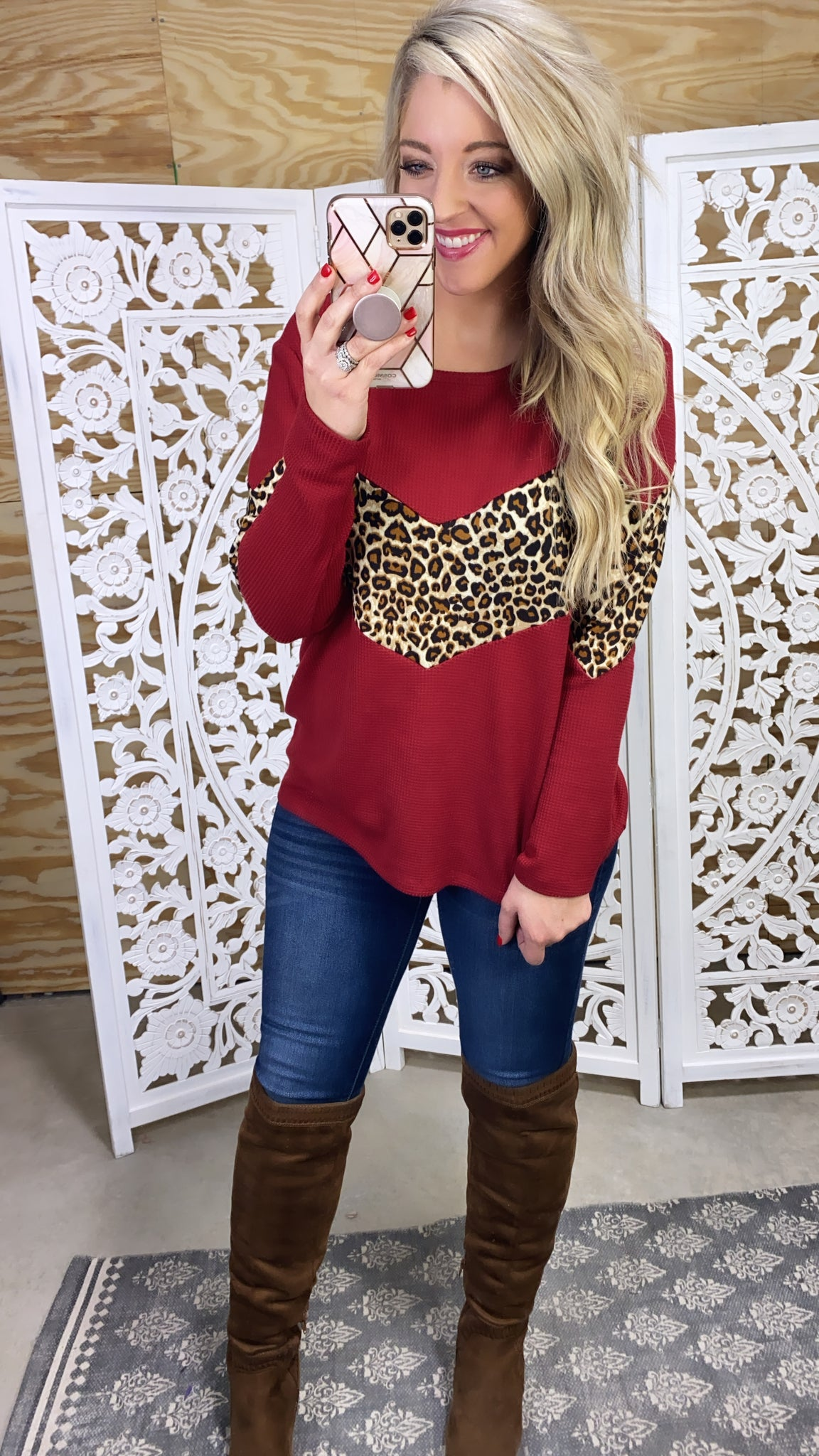 Right Here- Burgundy & Leopard V Pattern Knit Top