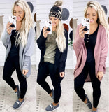 Dance To The Music- {Black/Gray/Mauve} Waffle Knit Cardigan