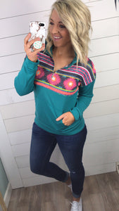 Good Vibes-Teal Aztec Pull Over