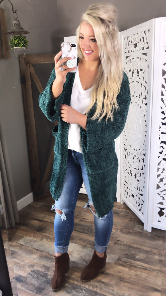 Where It's At- Chenille Hunter Green Cardigan