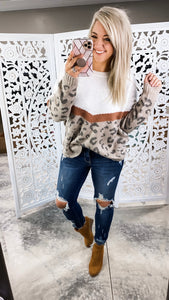Wanna Stay- Oatmeal/Leopard Sweater