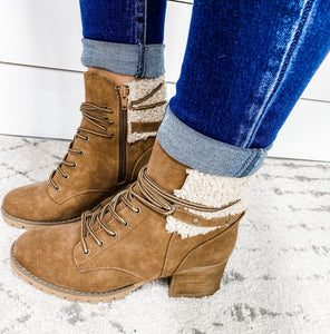 Wrapped Up- Tan Lace Up Boot w/ Wool