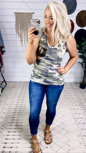 Better Than Before- Ribbed Camo Tank w/ Sequin Pocket