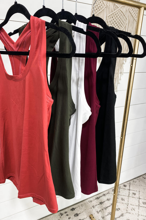Getting Through It- {Black, Burgundy, Coral, Olive, White} Racerback Tank