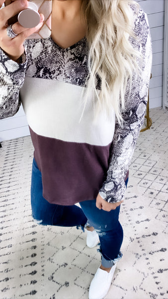 It's Perfect- Snake Print/Off White/Plum Color Block