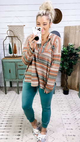 Save The Feeling- Multi Color Stripes V-Neck Hoodie
