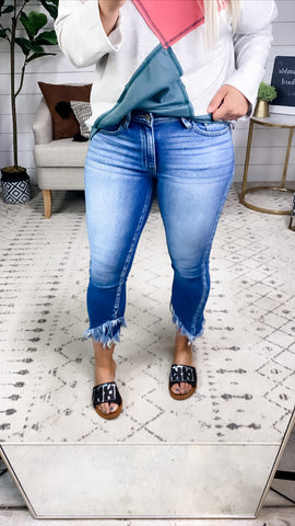 The Brinley's- Distressed Ankle Skinny Capri