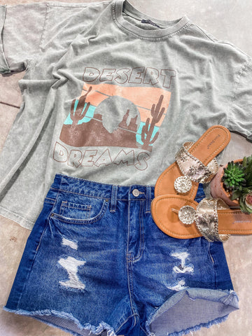 Desert Dreams- Vintage Washed Olive Graphic Tee w/ Brown, Peach & Mint Cactus