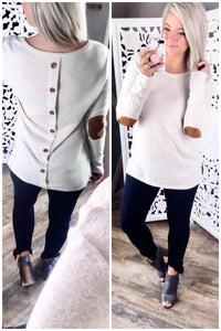 You First- Oatmeal Top w/ Elbow Patch and Button Detail