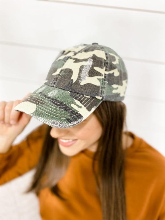 Distressed Camo Cap