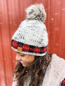 Stocking Cap-Red/Black Buffalo Plaid