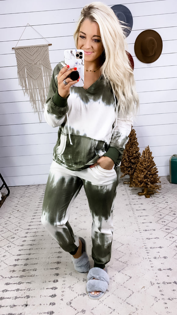 Have Some Fun- Olive/Ivory Tie Dye Top OR Pants Lounge Set