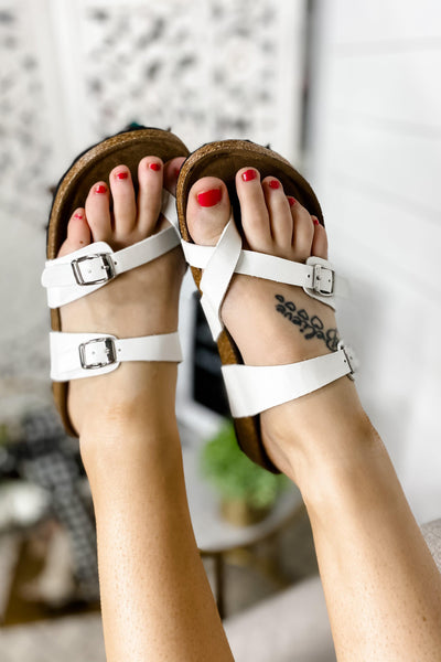 The Crossovers- WHITE Cross Over Toe Sandal