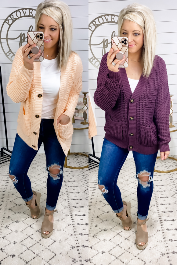It's Over- Chunky Waffle Knit Cardigan
