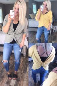 Opening Up - Reversible Cross Back {Olive & Mustard}