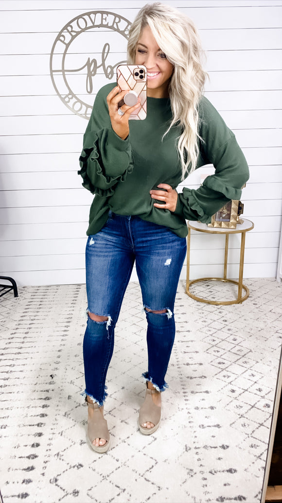 Form A Connection- OLIVE Soft Ruffle Sleeve Top