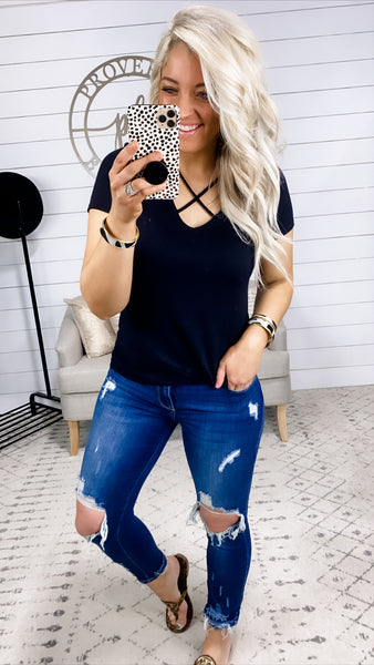 Can't Understand- BLACK Top w/ Criss Cross Chest
