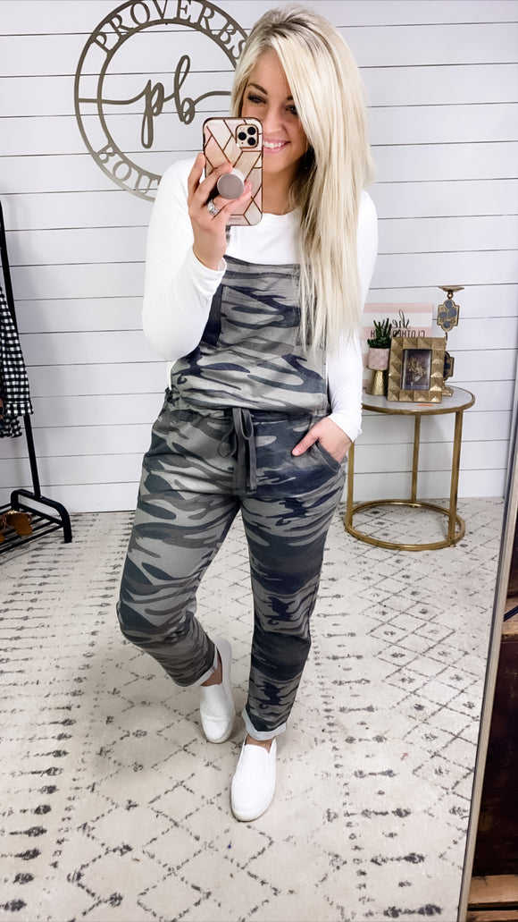 Everyone Knows- Camo Overalls