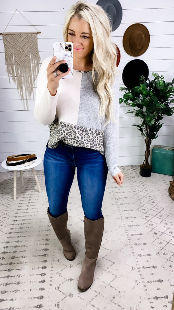 When You're Down- Taupe/Gray/Leopard Color Block Top