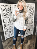 I Want To- Stripes & Camo Cowl Neck