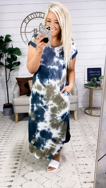The Only Love- Olive/Navy/White Tie Dye Dress