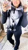 Oversized Chunky Plaid Scarf {Black/Gray}