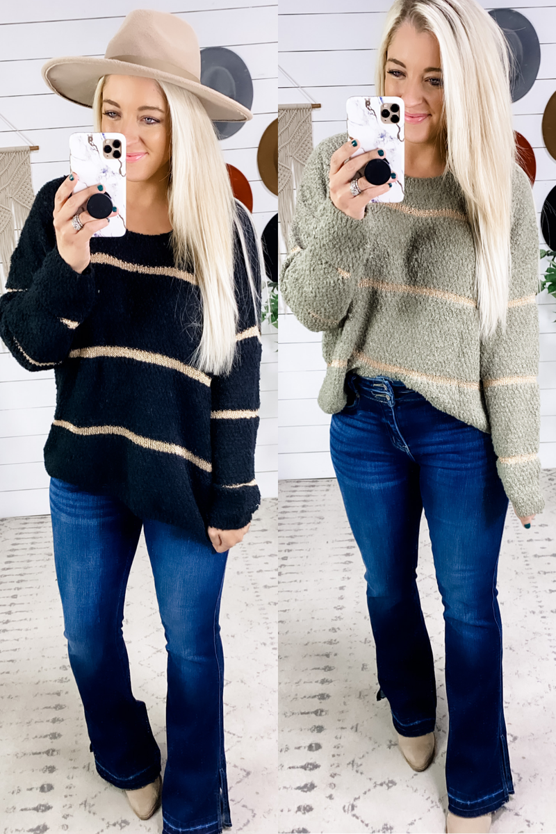 See The Difference- {Olive & Black} w/ Gold Stripe Sweater