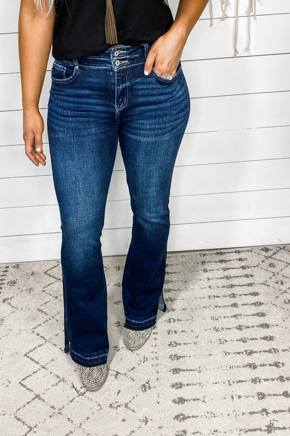 The Kodi's- Double Button Side Slit Flare Jeans