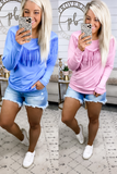 My Kinda Thing- {Blue}{Pink} Cut Fringe Top