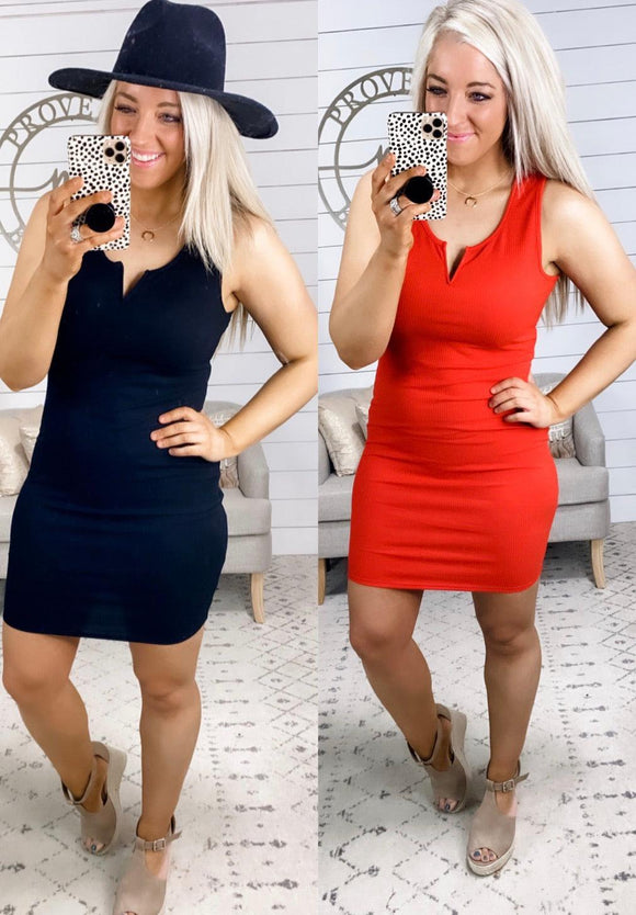 Before You Go- {Black}{Red} Ribbed Fitted Dress